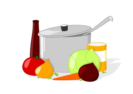 Pan and vegetables with kitchen accessories on white background   Stock Vector - 19373281