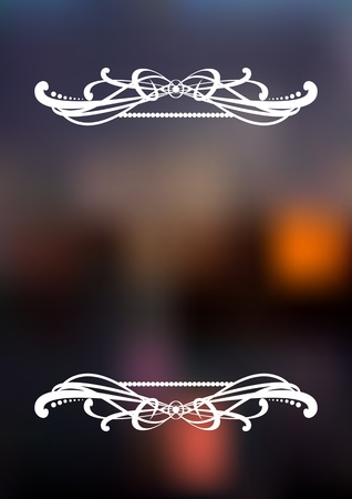 Vertical dark blurred background with white ornament and place for text