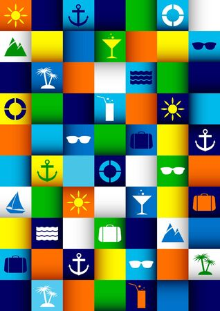 boat party: Travel colorful background with square mosaic