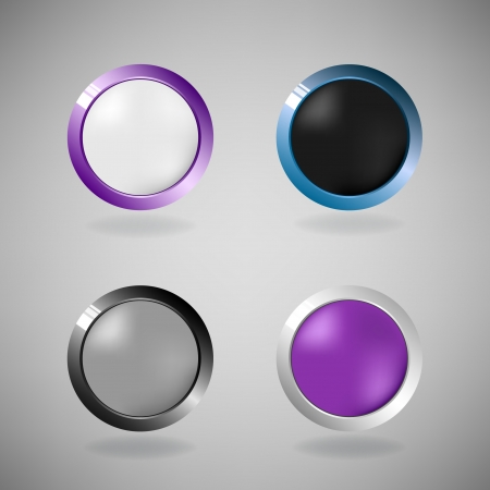 Set of four colorful buttons on grey background   Vector