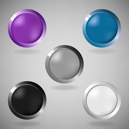 Set of five colorful buttons on grey background