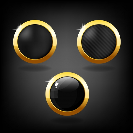 Set of three black and gold buttons on grey background