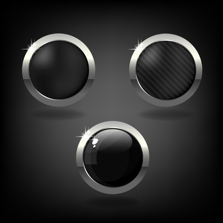 Set of three black and silver buttons on grey background   Illustration
