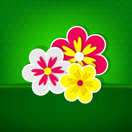 Green card with three flowers   Vector