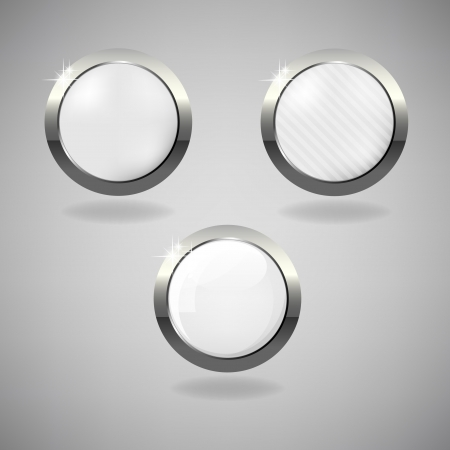 Set of three white and silver buttons on grey background