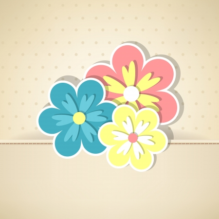 Beige vintage card with three flowers   Vector