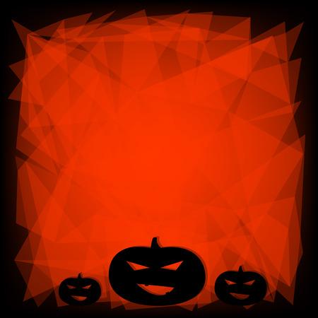 Black and orange Halloween background with three pumpkins   Illustration