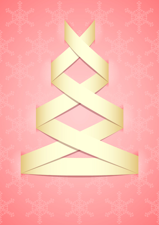 Stylized light Christmas tree on pink background   Vector