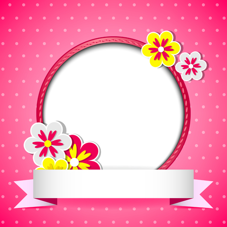 Pink floral card with place for photo or text   Vector