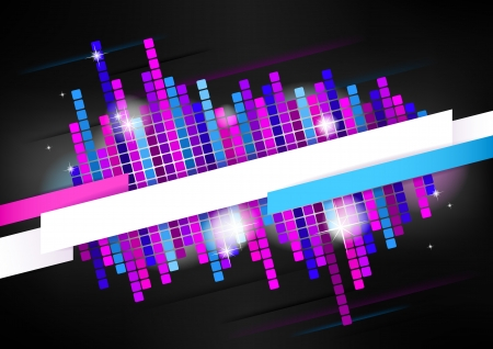 Horizontal dark music mosaic background   Vector