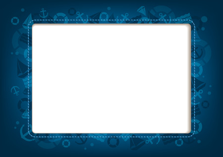 luxury yacht: Blue  horizontal background with marine symbols and place for text or images