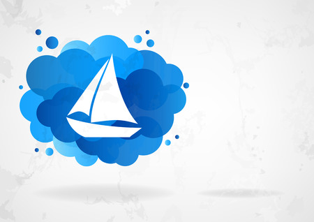 Stylized sailing boat with blue cloud on grey vintage background
