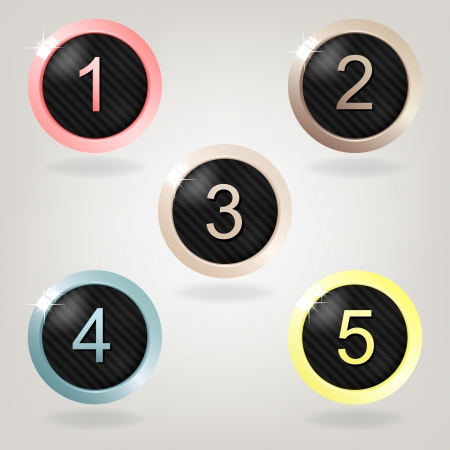 Set of five striped buttons with numbers on grey background   Illustration