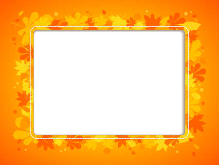 Autumn  horizontal frame with colourful leaves and place for text or images   Vector