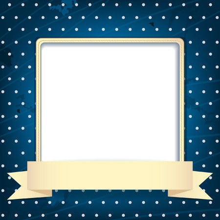 Dark blue vintage background with square frame and place for photo or text