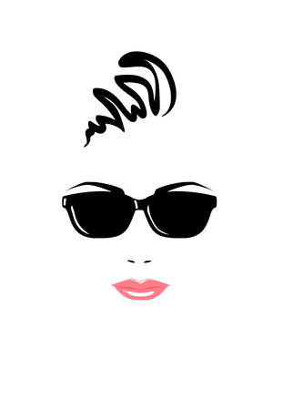 Portrait of beautiful woman in black sunglasses   Illustration