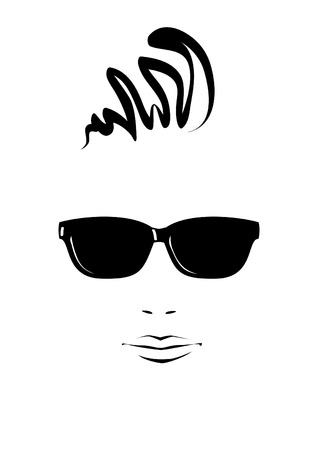 fashionable sunglasses: Portrait of young man in black sunglasses