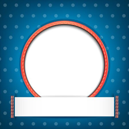 wedding photo frame: White circle with place for text or image on blue background with polka dots   Illustration