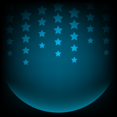 Abstract blue background with sphere and stars   Vector