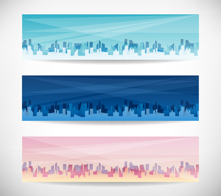 Three abstract banners with city on grey background