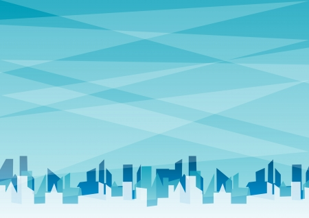 accommodation: Blue horizontal abstract background with city   Illustration