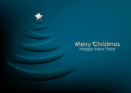 Christmas tree with silver star on blue horizontal background   Vector