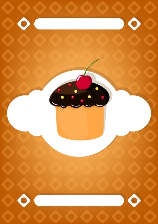 Vintage brown card with  cake   Stock Vector - 22531495