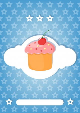 Vintage blue card with  cake Stock Vector - 22531496