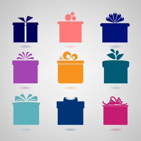 Set of nine colorful icons of gift boxes   Illustration