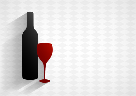 Bottle of wine and glass on light horizontal background