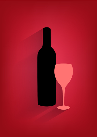 Bottle of wine and glass on red vertical background   Vector