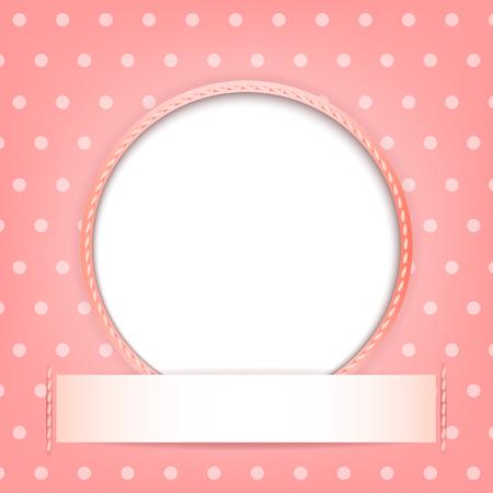 Círculo blanco con el lugar para el texto o la imagen sobre fondo de color rosa con lunares Ilustración de vector