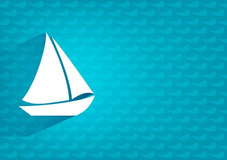 White stylized sailing boat on blue horizontal background   Stock Photo