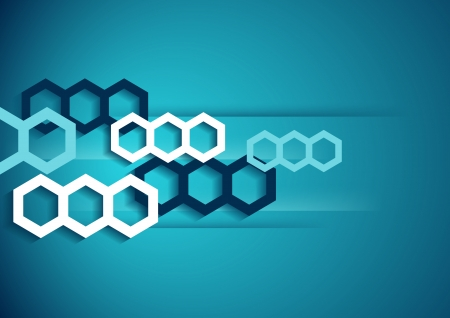 cellule: Abstract horizontal  blue background with hexagons