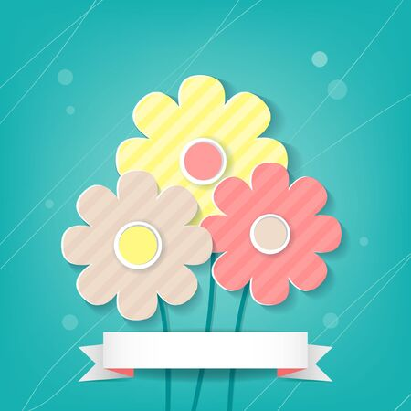 Card with three flowers on blue background