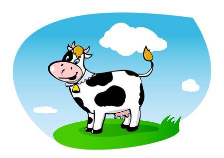 green fields: Walking cow on green grass   Illustration