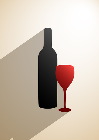 aperitif: Bottle of wine and glass on beige vertical background   Illustration