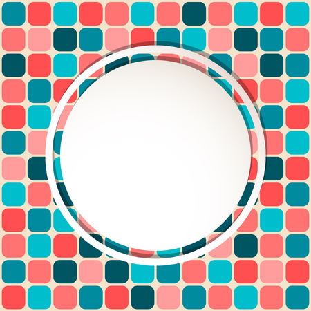 White circle with place for text or image on mosaic background