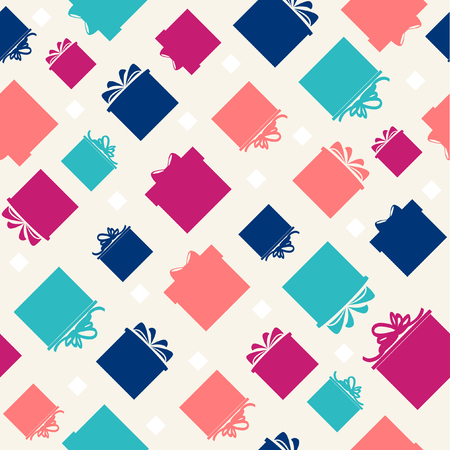 Pattern with colorful gift boxes on beige background   Vector