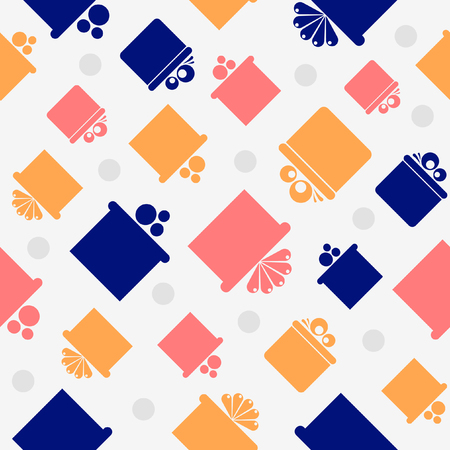 Pattern with colorful gift boxes on grey background   Vector