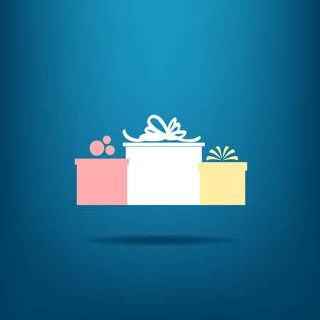three gift boxes: Tres cajas de regalo sobre fondo azul Vectores
