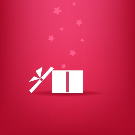 White gift box with stars on red background