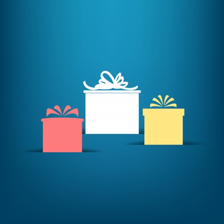 Three gift boxes with shadows on blue   Illustration