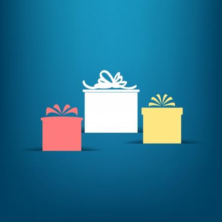 three gift boxes: Tres cajas de regalo con las sombras en azul