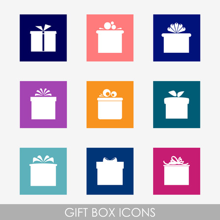 Set of nine colorful flat icons of gift boxes on light background   Vector