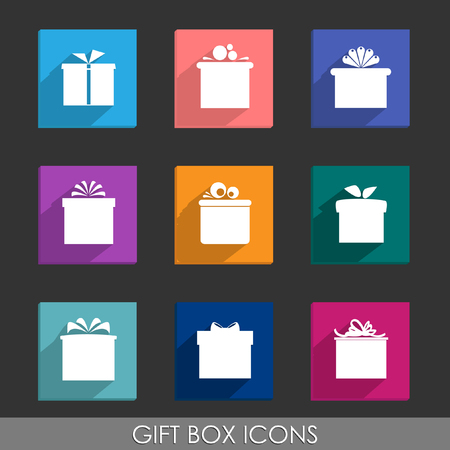 Set of nine colorful icons of gift boxes on dark grey background