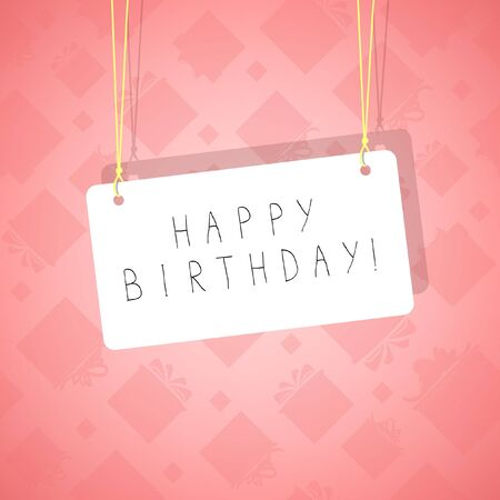 Pink background with inscription Happy Birthday   Illustration