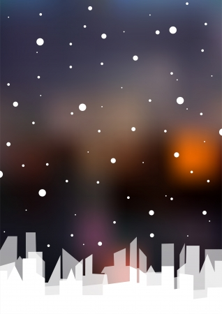 Dark blurred background with white city and snow   Illustration
