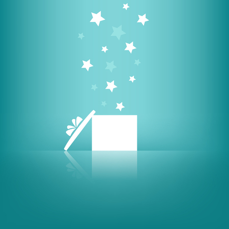 White gift box with stars on blue background