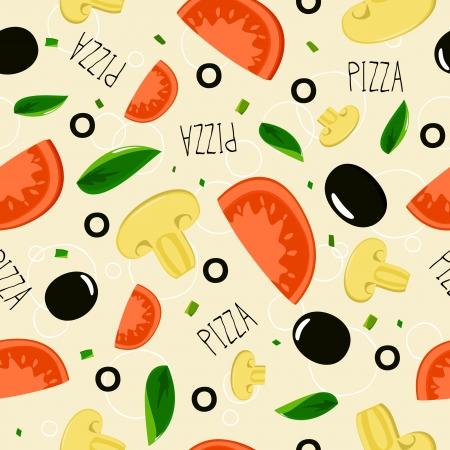 Pizza pattern on beige background